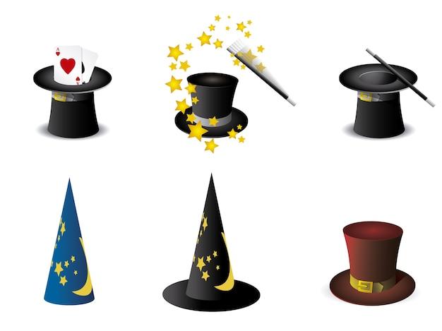 Coleção de chapéus mágicos