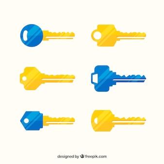Coleção de chaves amarelas e azuis