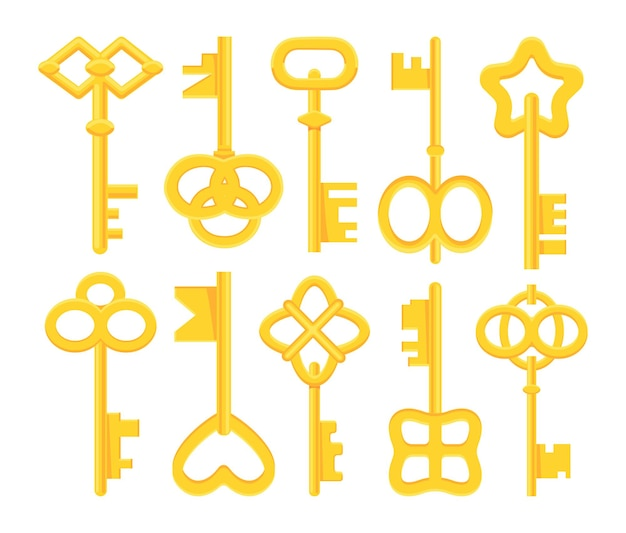 Coleção de chaves amarelas.