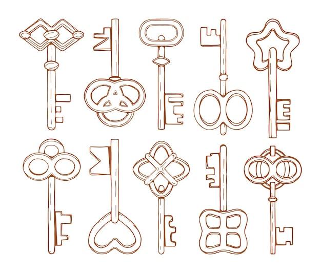 Coleção de chaves desenhadas à mão.
