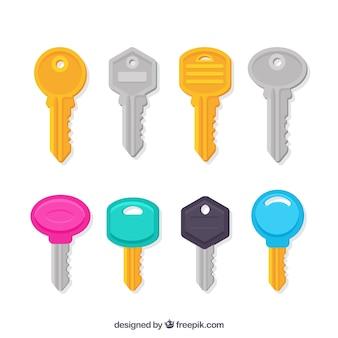 Coleção de chaves em cores diferentes
