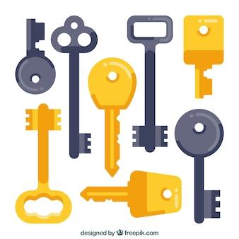 Coleção de chaves em design plano