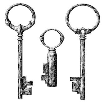 Coleção de chaves no estilo antigo