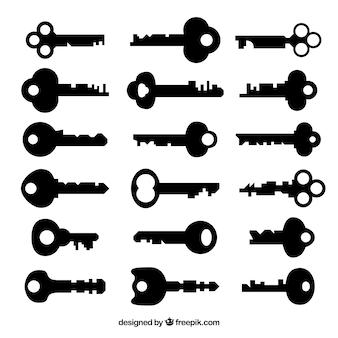 Coleção de chaves pretas