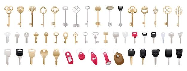 Coleção de chaves realistas
