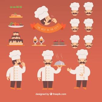 Coleção de chef de restaurante