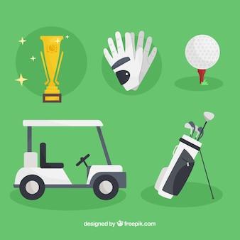 Coleção de cinco elementos de golfe