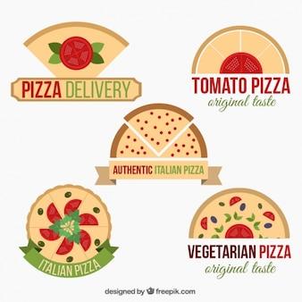 Coleção de cinco logotipos de pizza