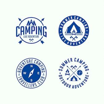 Coleção de círculo de acampamento aventura logotipo