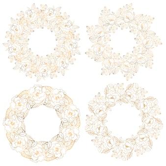 Coleção de círculo decorativo floral