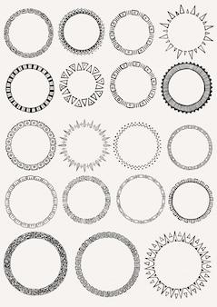 Coleção de círculos desenhados a mão