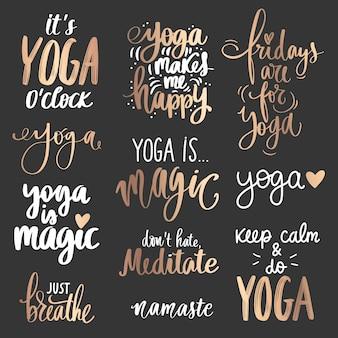 Coleção de citações de ioga dourada sobre fundo escuro. slogan definido sobre calma, respiração, meditação.