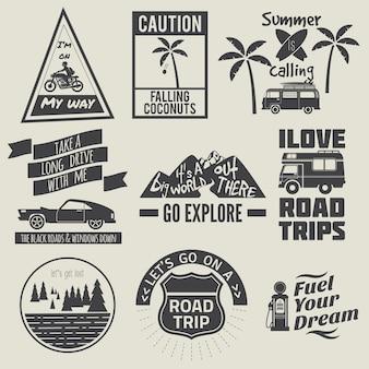 Coleção de citações de viagem rodoviária a preto e branco