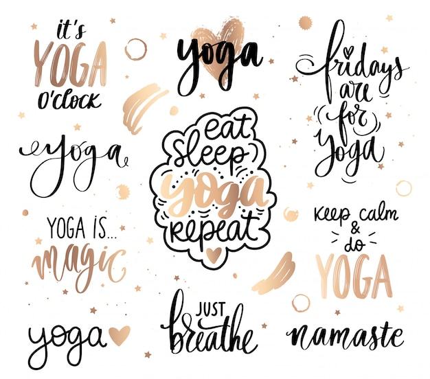 Coleção de citações douradas de ioga. slogan definido sobre calma, respiração, meditação.