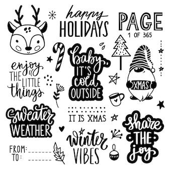 Coleção de citações, frases, desejos e adesivos de letras de natal e ano novo com bebê veado, gnomo, árvore de natal.