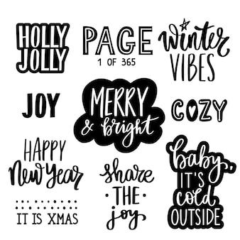 Coleção de citações, frases, desejos e adesivos de letras de natal e ano novo. decoração para férias de inverno, isolada no fundo branco.
