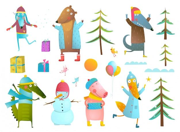 Coleção de clipart de animais de férias de temporada de inverno para crianças