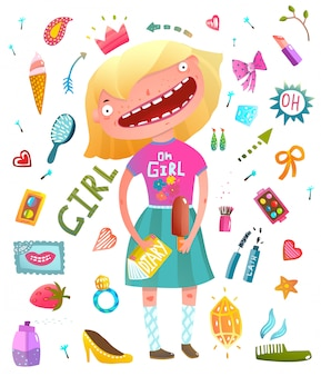 Coleção de clipart de menina com adolescente menina e cosméticos