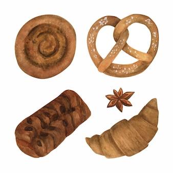 Coleção de clipart de padaria em aquarela pãezinhos de pão com croissant de canela, anis, pretzel, pecã