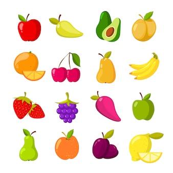Coleção de clipart de vetor de frutas dos desenhos animados
