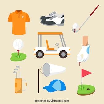 Coleção de clubes de golfe em estilo plano