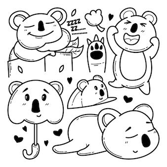 Coleção de coala fofo doodle ilustração de personagem