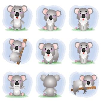 Coleção de coala fofo no estilo infantil