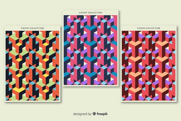 Coleção de cobertura de padrão isométrico