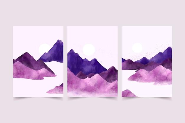 Coleção de cobertura de paisagem mínima em aquarela