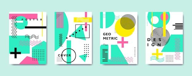 Coleção de cobertura geométrica plana colorida, estilo memphis