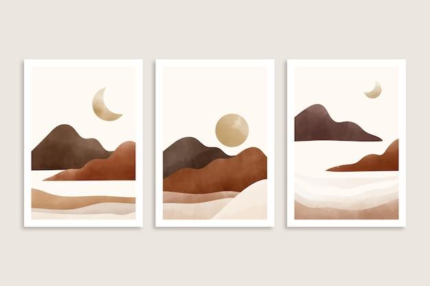 Coleção de coberturas de paisagem mínima em aquarela