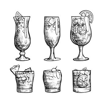 Coleção de cocktail contorno mão desenhada