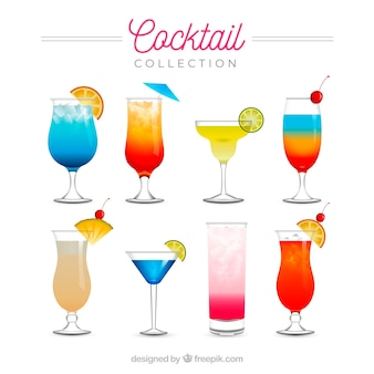 Coleção de cocktails refrescantes em estilo realista