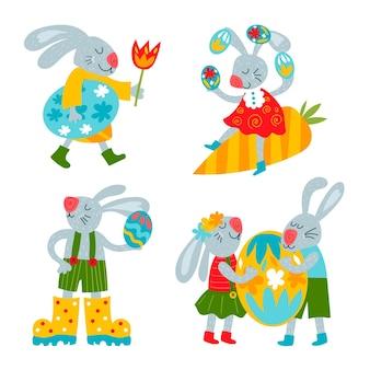 Coleção de coelhinhos para o dia da páscoa