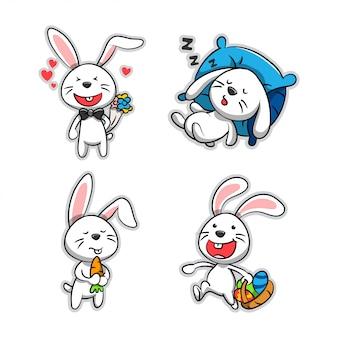 Coleção de coelho de desenho animado