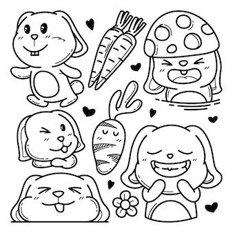 Coleção de coelho fofo doodle ilustração de personagem