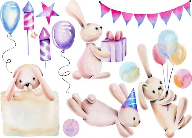 Coleção de coelhos festivos fofos em aquarela
