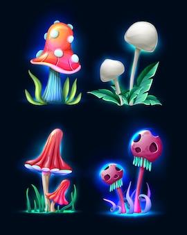 Coleção de cogumelos de fantasia mágica do estilo dos desenhos animados vetoriais brilhando no escuro, isolados no branco
