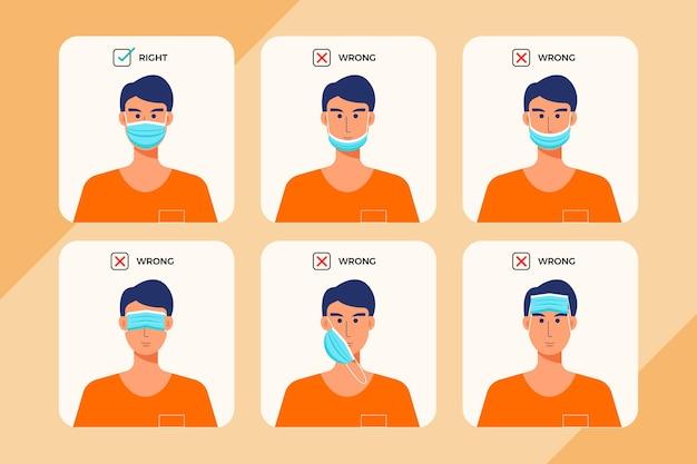 Coleção de coisas certas e erradas em máscaras usando
