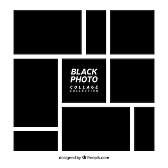 Coleção de colagem de moldura de foto preta
