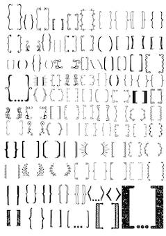 Coleção de colchetes desenhados mão