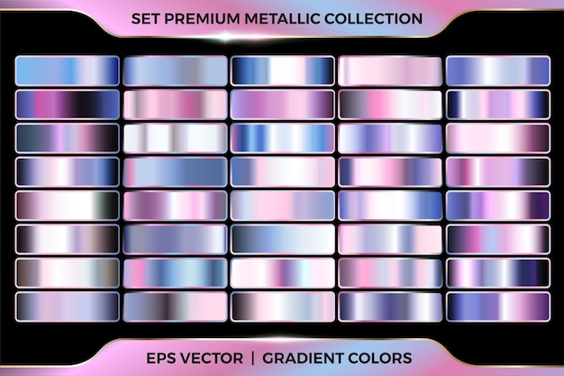 Coleção de combinação de gradiente azul rosa colorido grande modelo de paletas