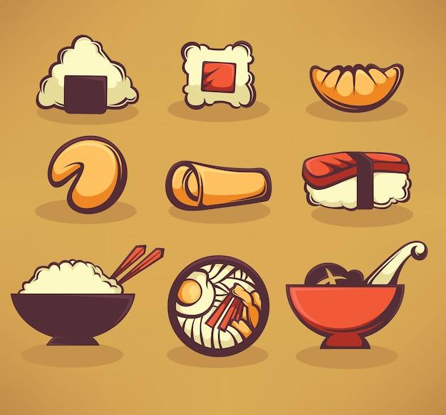 Coleção de comida asiática