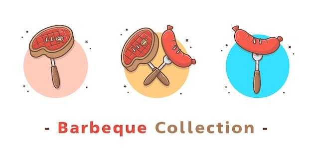 Coleção de comida de churrasco