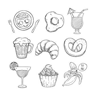 Coleção de comida deliciosa com estilo desenhado à mão