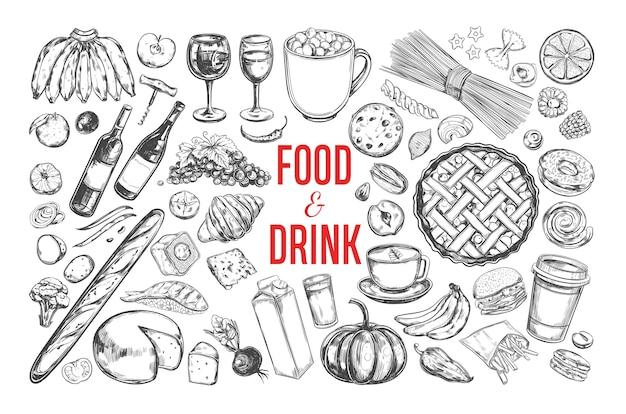 Coleção de comida e bebida isolada no branco