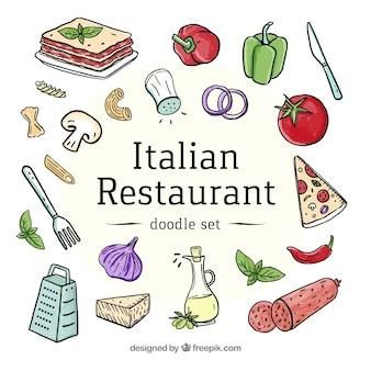 Coleção de comida italiana em aquarela