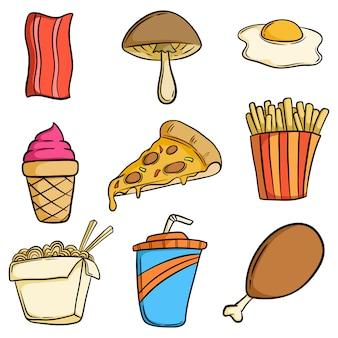 Coleção de comida lixo saboroso bonito com mão desenhada ou estilo doodle