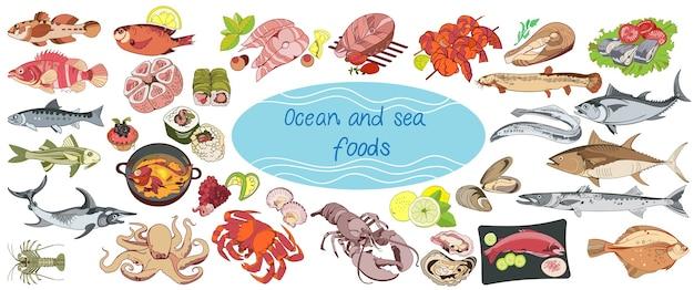 Coleção de comida marinha com desenho colorido