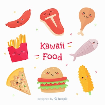 Coleção de comida plana kawaii